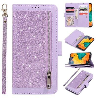 Samsung S10 S9 S8 NOTE A20 A50 Glitter Leather Zipper 9 Cards Wallet Case Cover