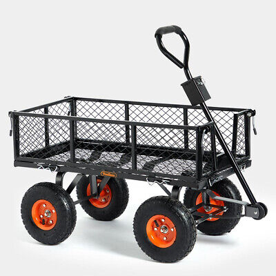 Garden Trolley Gardening Mesh Steel Pull-Along Wheelbarrow Camping Cart Truck