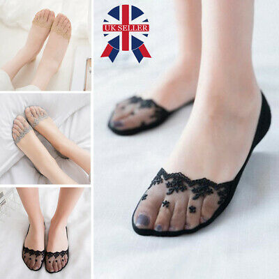 Ladies Girls Shoe Liners Lace Footsies Nude Black Invisible Sock Grip Pads 4-7