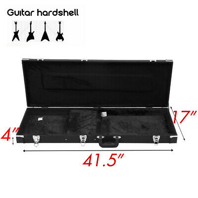 Square Guitar Hard Case Fits Most Standard Electric Guitars Hardshell Black tn