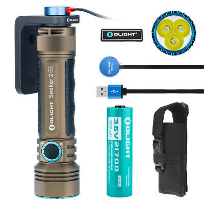 OLIGHT Seeker 2 Pro 3200 Lumens Rechargeable LED Tactical Flashlight Desert Tan