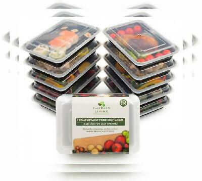 Emerald Living Premium 1 Compartment Meal Prep Container Set. 10 pack of BPA...