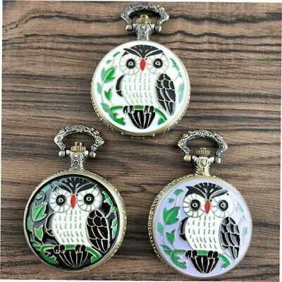 Cute Lovely Owl Vintage Antique Round Dial Quartz Pocket Watch Best Gifts ND