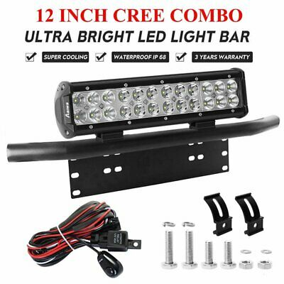 "12 inch 240W CREE Spot Flood LED Work Light Bar + 23"" License Number Plate Frame"