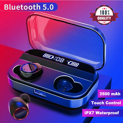Waterproof True Wireless Earbuds Bluetooth 5.0 Headphones TWS Earphones NEW UK