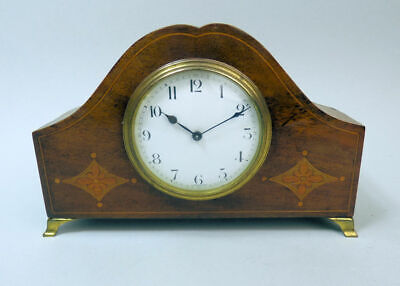 Edwardian Antique Mahogany Inlaid Mantle Clock C.1910 In Good Working Order