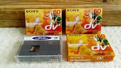 3 x Sony DVM60 Mini DV Camcorder Tapes SP60/LP90 + 1 Sony DV Cleaning Tape *NEW*