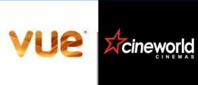2x VUE ADULT /CHILD 2D CINEMA E-TICKET CODES INSTANT FREE EMAIL DELIVERY