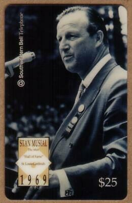 $25. Stan Musial Baseball 'Hall of Fame' Photo Coat & Tie. SPECIMEN Phone Card