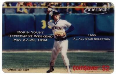 $2. Robin Yount Coin$aver (Pitching Baseball). 0 SPECIMEN Phone Card