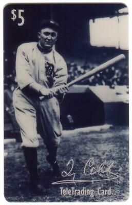 $5. Baseball Legend B&W Photo: Ty Cobb Swinging Bat USED Phone Card