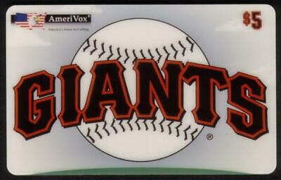 $5. Giants II (Baseball) With Green Pitchers Mound At Bottom Phone Card