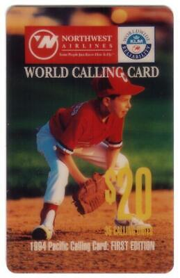 $20. NorthWest Airlines & KLM 1994 Pacific Calling Card (Baseball) Phone Card