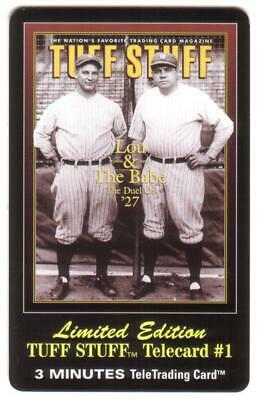 3m Tuff Stuff Magazine Cover: Lou Gehrig & Babe Ruth Phone Card