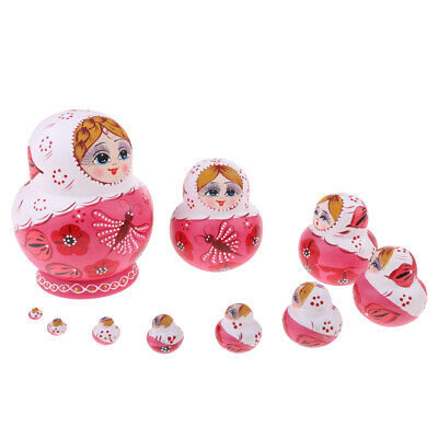 10pcs Pink Butterfly Russian Nesting Doll Matryoshka Wood for Children Kids