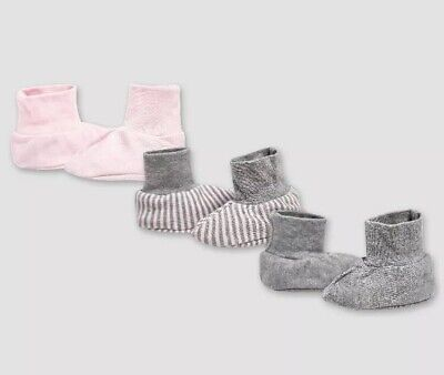NEW Burt's Bees Baby Organic Cotton Super Soft Booties 3-Pack 6-9 M Gray-Pink