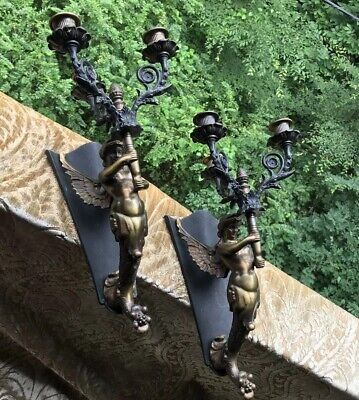Pair Of Neoclassical Mermaid Bronze Colored Finish Sconces