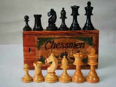 ANTIQUE VINTAGE FRENCH SMALL CHESS SET  K 62 mm AND  ORIG BOX - NO  BOARD