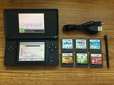 Nintendo DS Lite Black Handheld Console Bundle +6 Games & Charger