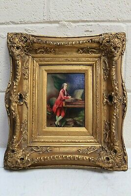 Antique 18th Century Composer Oil on Wood Painting Ornate Gold Rocco Frame -254