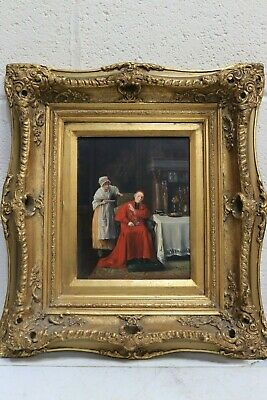 Antique CARDINAL and MAID Scene Oil on Wood Painting Ornate Gold Rocco Frame-254
