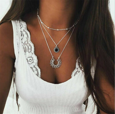 Boho Multilayer Choker Pendant Necklace Crystal Hollow Lotus Chain Women Jewelry