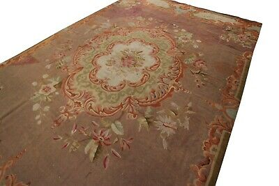Authentic Antique French Charles X Aubusson Rug Purple Brown 8'x13' Circa 1850