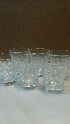 Set of 6 cut glass tumbler glasses  ,house clearance items  (s5)