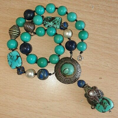 12# Old Vintage Chinese Silver Turquoise Necklace with 5 Lapis & 2 Enamel Beads