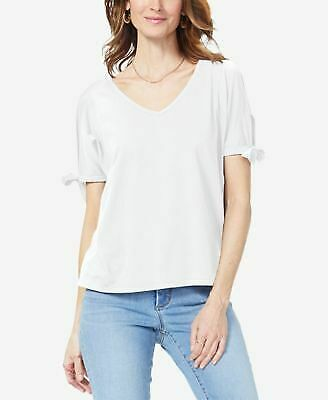 NYDJ $49 Womens New 1632 White Tie Sleeve V Neck T-Shirt Casual Top XL B+B