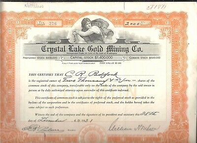 1931 Crystal Lake Gold Mining Co. Washington Stock Certificate 2000 Shares #376