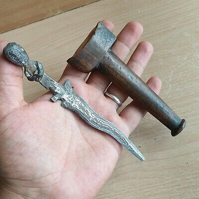 22# Old Rare Antique Asian Kris Knife Damascus Blade and Damascus Handle Figure