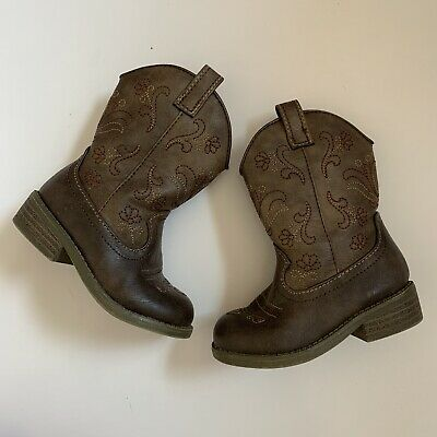 086bea029a6 CAT & JACK Baby Toddler Girl Cowboy Boots Size 6 Brown Zip Up Target