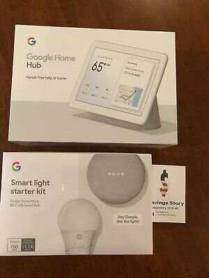 Google Nest Home Hub Chalk with Smart Light Starter Kit & Mini Bundle NEW
