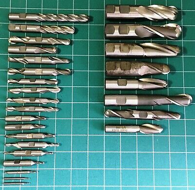 "27 pcs. High Speed Steel, Single / Double, Ball End Mill, Sizes Range 1/16"" - 1"""
