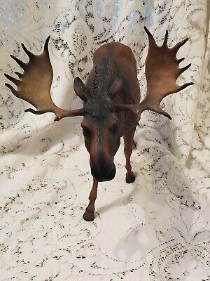 Vintage Large BREYER MOOSE Dark Brown  / Tan Antlers  ~ USA