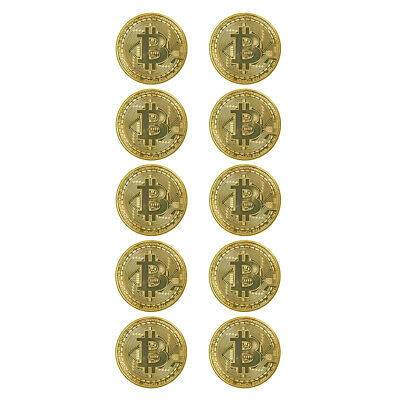 10x Gold Plated Bitcoin Bit Coin Commemorative Round Collectors Decoration Gift