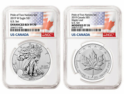 2019 PRIDE OF TWO NATIONS LIMITED EDITION 2 COIN SET, NGC PF70 ER, Pre-Sale