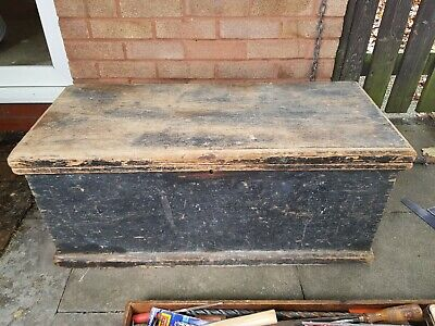 Old Vintage Antique Pine Carpenters trunk tool chest box With selection of tools