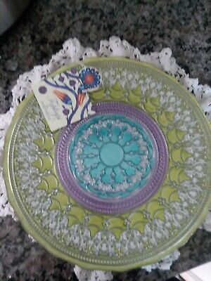 Topkapi Collection Hand Painted Turkish Art Glass Seving Dish