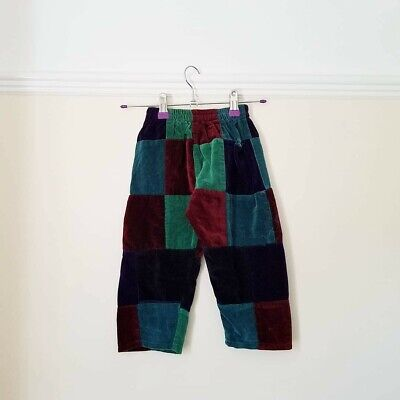 kids baby velvet cotton patchwork unisex hippy trousers made in Nepal 1-2 yrs