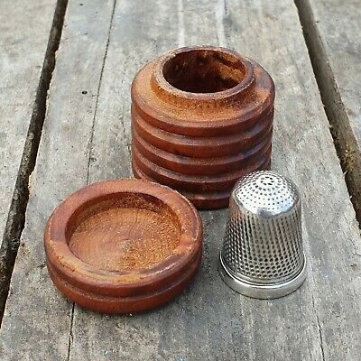 A Victorian Treen Thimble Box With A Solid Silver Thimble, Chester 1890