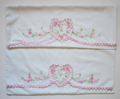 Pair Of Vintage Embroidered Pillow Cases With Crocheted Trim Heart And Flowers