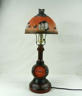 Halloween Spell Bottle  Lamp Metal Shade Hand Painted Primitive Folk Art  RJPE
