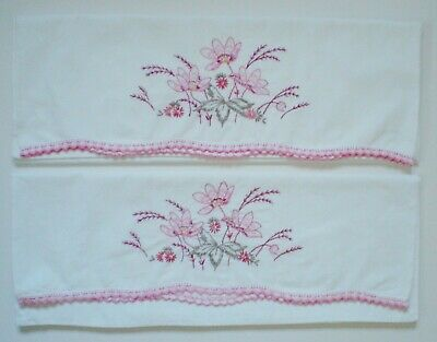 Pair Of Vintage Embroidered Pillow Cases With Crocheted Trim Floral Design