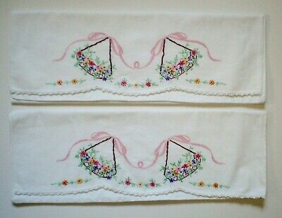 Pair Of Vintage Embroidered Pillow Cases Crocheted Trim Swing Floral Design