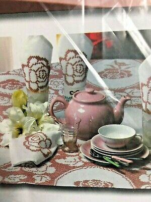 """Herrschners HERALD SPRINGS TABLECLOTH  ~ Stamped Cross Stitch 60"""" X 120"""" ROSES"""