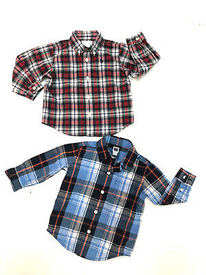 Lot 2 Baby Boy Long Sleeves Plaid Shirts 6-12 Months Ralph Lauren Janie & Jack