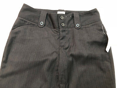 Old Navy Women Low Waist Stretch Pants Pinstripe Brown Size 1 Career Straight