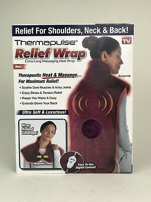 NEW Thermapulse Relief Wrap Extra Long Massaging Heat Wrap,Burgundy